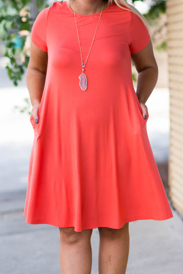 Finally Friday Dress, Coral