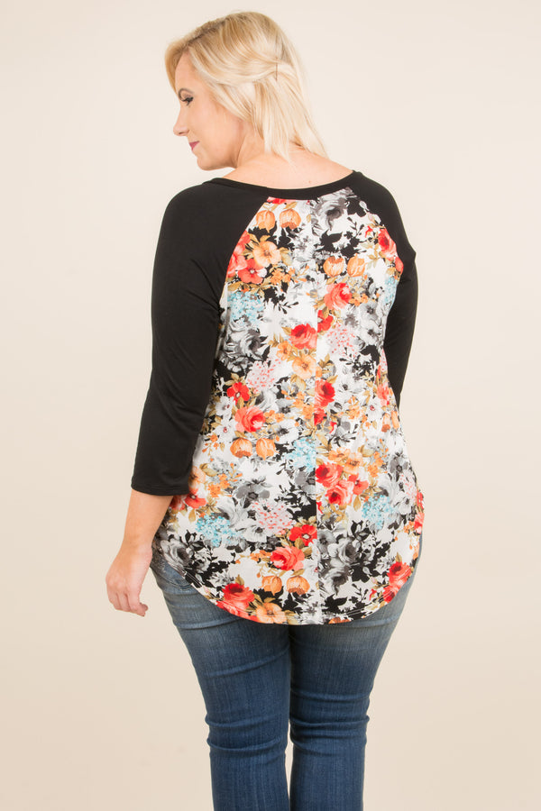 Lucky Florals Top, Black