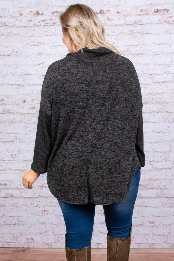 sweater, long sleeve, cowl neck, button neckline, flowy, charcoal, heathered, comfy, fall, winter
