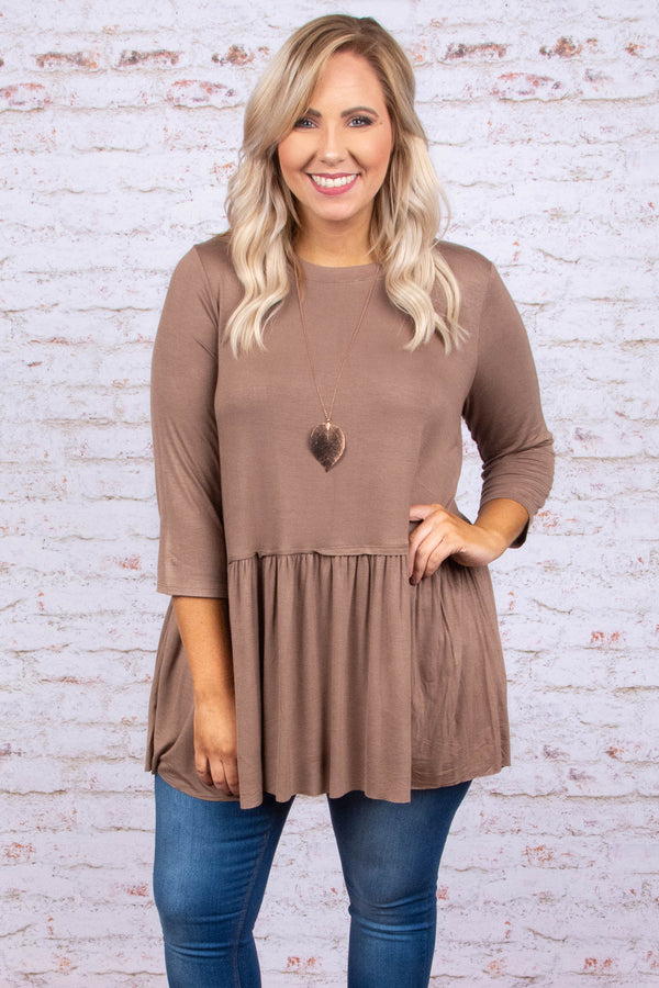 tunic, three quarter sleeve, babydoll, ruffle, flowy, long, mocha, comfy, fall, winter