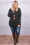 shirt, long sleeves, long, curved hem, vneck, black, white, stripes, soft, fall, winter