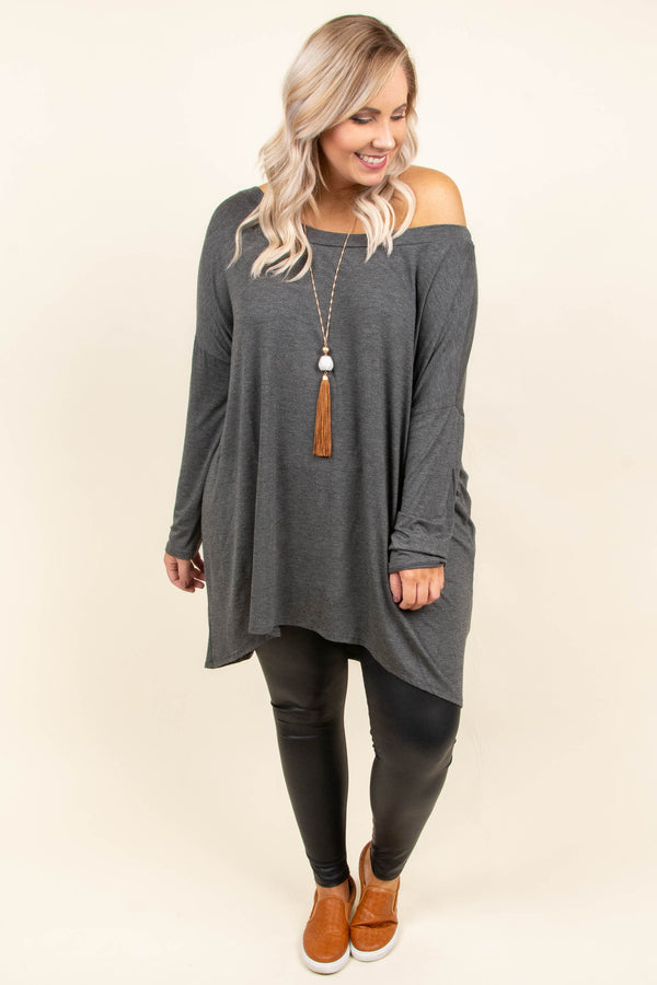 tunic, long sleeves, off the shoulder, flowy, charcoal, solid, fall, winter