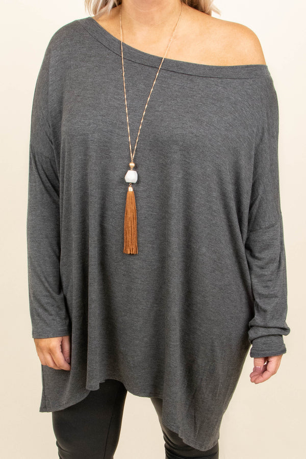 Cozy Mornings Tunic, Charcoal
