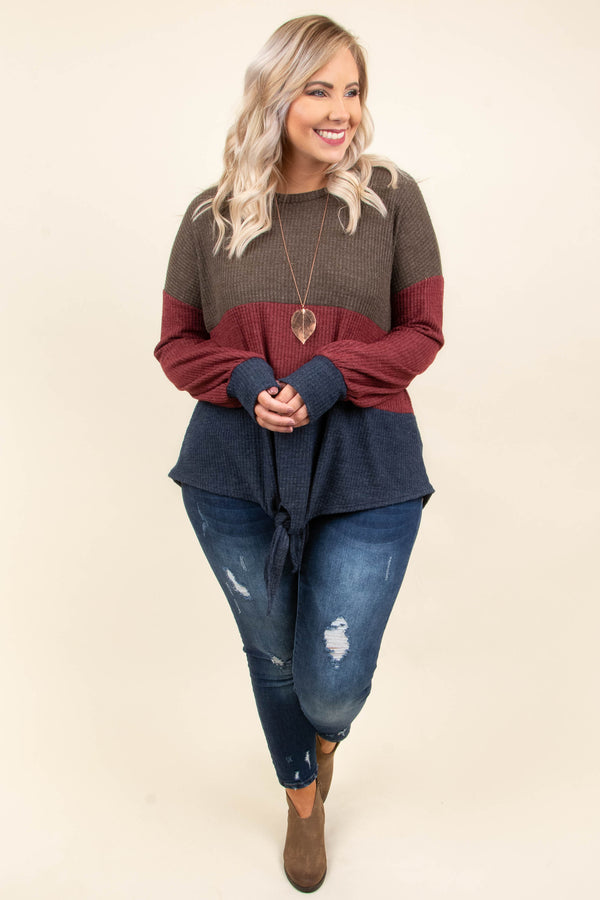 By The Book Sweater, Mocha-Burgundy