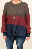 sweater, long sleeves, tie front, bubble sleeves, brown, red, blue, colorblock, comfy, fall, winter