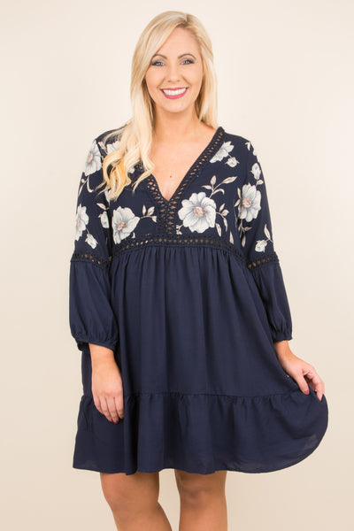 dress, short, long sleeve, vneck, babydoll, ruffles, bubble sleeves, lace details, embroidery, navy, comfy, fall, winter