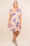 dress, floral, purple, blush, white, scoop neckline, knee length, pockets
