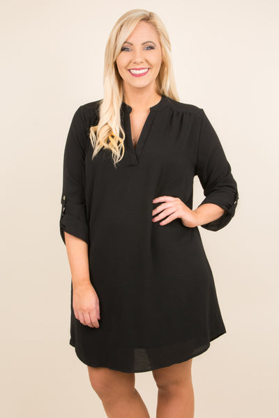 dress, three quarter sleeves, buttoned sleeves, vneck, black, solid, flowy