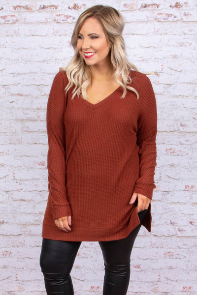 tunic, long sleeve, vneck, ribbed, long, side slit, fitted, rust, solid, comfy, fall, winter
