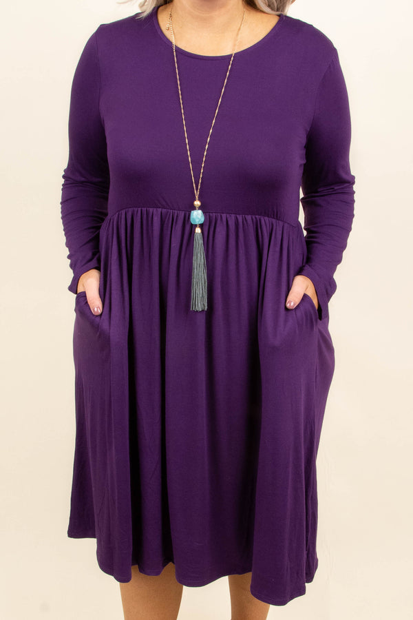 dress, dark purple, knee length, long sleeve, pockets, flowy