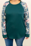 shirt, long sleeve, curved hem, jade, floral, pink, white, floral sleeves, comfy, fall, winter