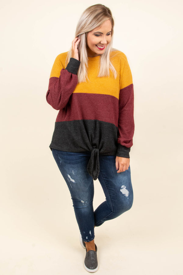 By The Book Sweater, Mustard-Burgundy