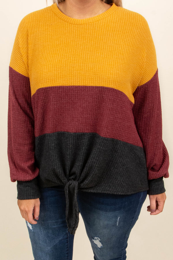 sweater, long sleeves, tie front, mustard, burgundy, black, colorblock, comfy, fall, winter