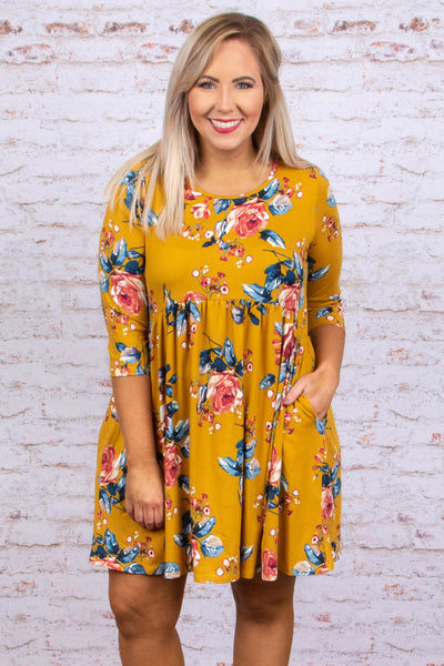 Lost In The Flowers Dress, Mustard