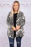 Believe You Can Cardigan, Ivory-Black