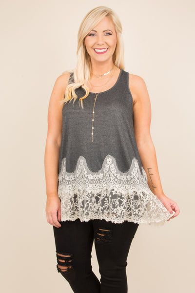Lace Is Love Tank, Charcoal