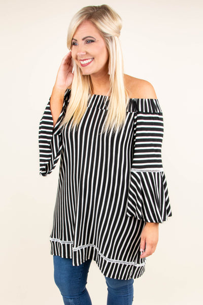 Striped To Be Here Tunic, Black