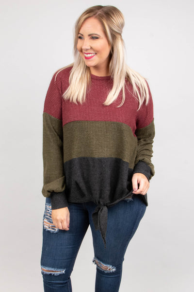 By The Book Sweater, Burgundy-Olive