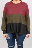 sweater, long sleeve, tie front, charcoal, olive, burgundy, colorblock, longer back, comfy, fall, winter