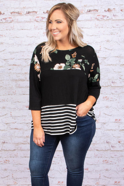 shirt, three quarter sleeve, green, white, black, brown, floral, striped, colorblock, comfy