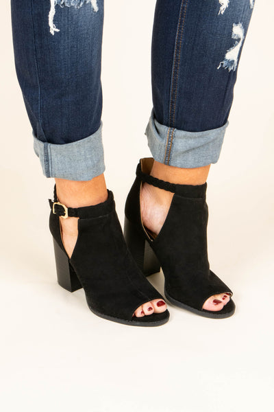 Step Right Up Booties, Black