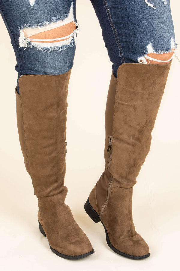 boots, tall, zippered back, zippered side, taupe, soft, high knee, fall, winter