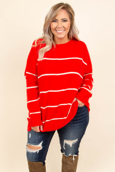 top, sweater, long sleeve, striped, cozy, red, cream