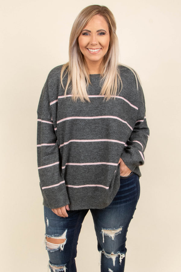 top, sweater, long sleeve, striped, cozy, grey, pink