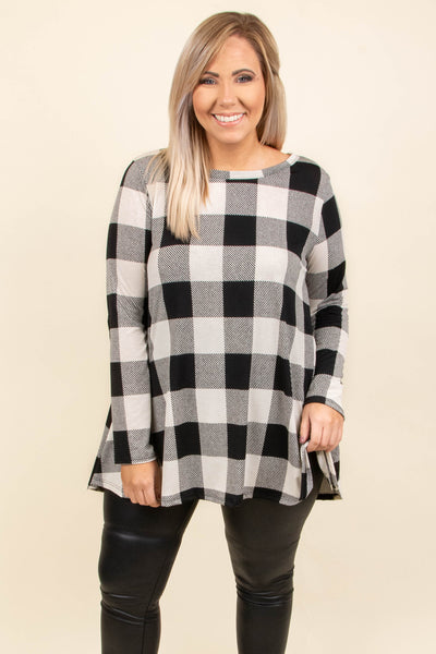 tunic, long sleeve, flowy, black, white, plaid, comfy, fall, winter, elbow patches