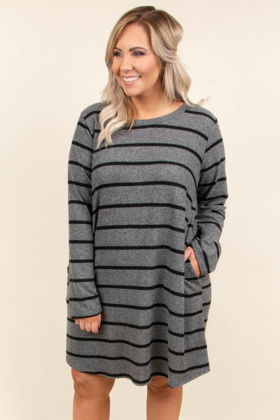 East To West Dress, Charcoal