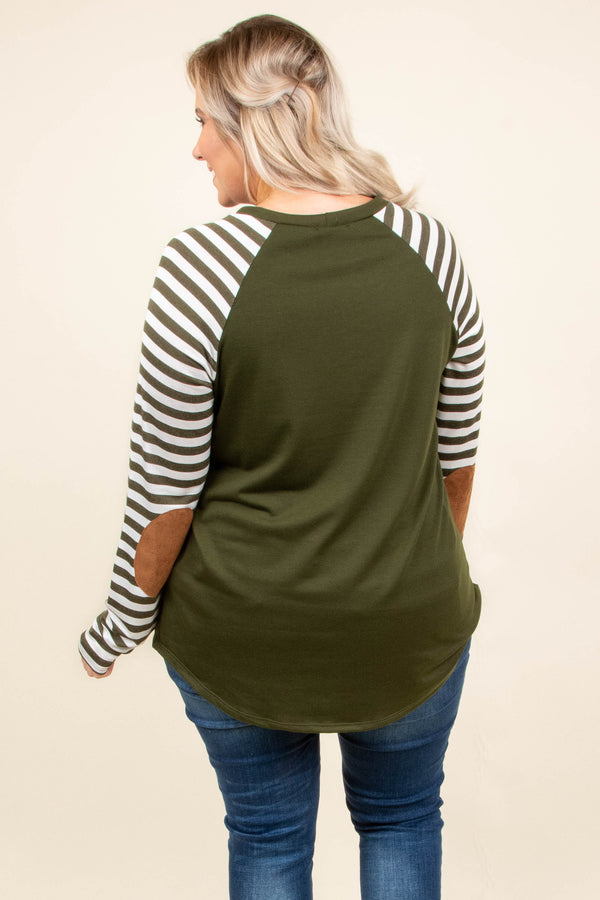 top, casual top, green, striped, elbow patch, long sleeve, white
