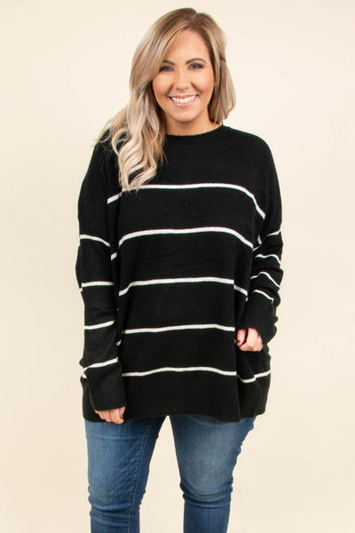 top, sweater, long sleeve, striped, cozy, black, cream