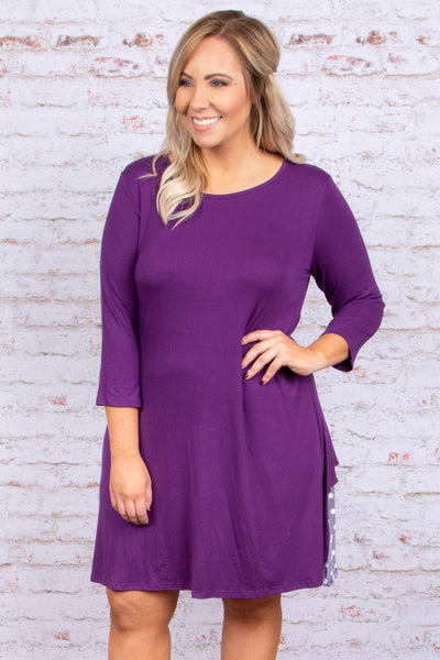 dress, short, three quarter sleeves, purple, solid, flowy, polka dot back insert, ruffle detail, comfy