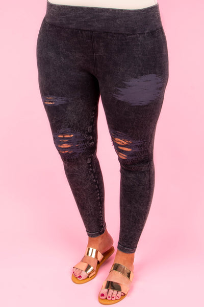 jeggings, charcoal, distressed, ripped, long, comfy