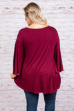 Dressed To The Nines Top, Burgundy