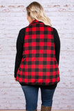 vest, pockets, flowy, fuzzy, black, red, plaid, outerwear, comfy, fall, winter