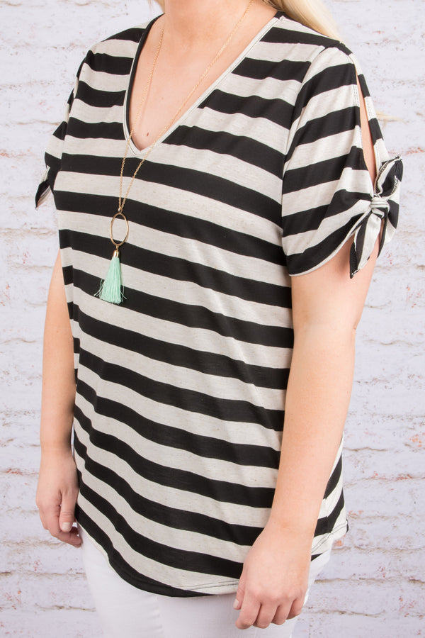 top, blouse, v neck, tie sleeves, stripes, white, black, summer, fall, casual