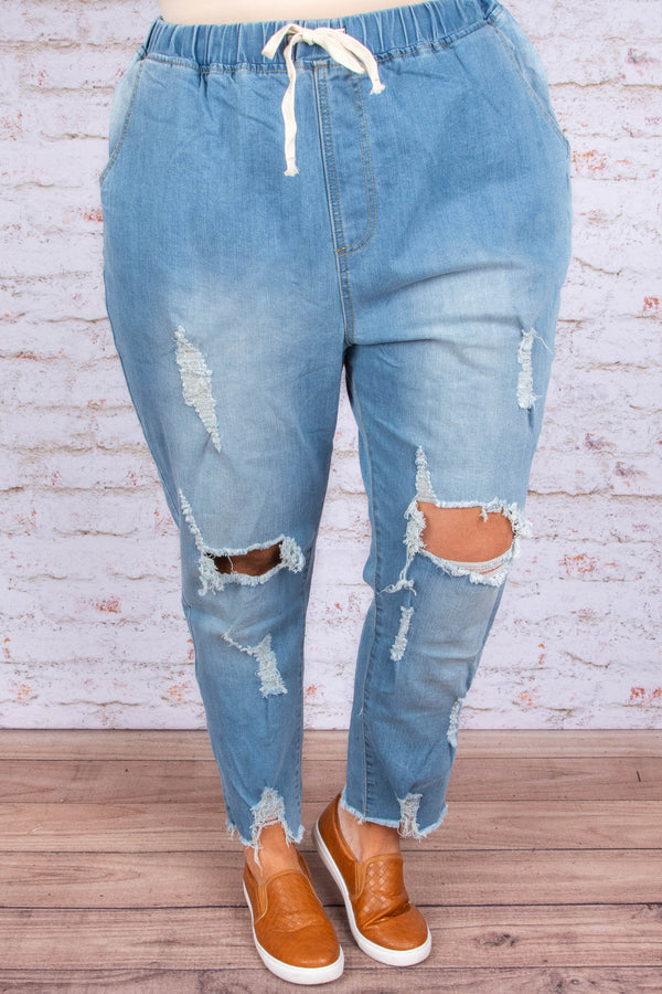 jeans, long, relaxed fit, drawstring waist, pockets, blue, faded, distressed, ripped