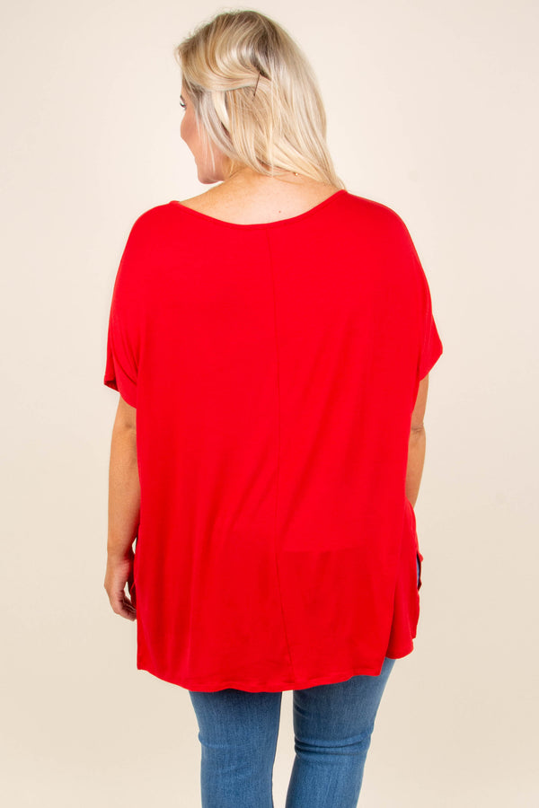 tunic, short sleeve, red, solid, comfy, flowy, side slits