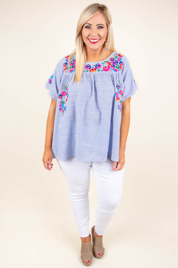 shirt, short sleeve, embroidered, blue, comfy, spring, summer