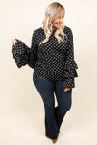 top, blouse, polka dot, black, white, tiered sleeves, long sleeve, high neck line