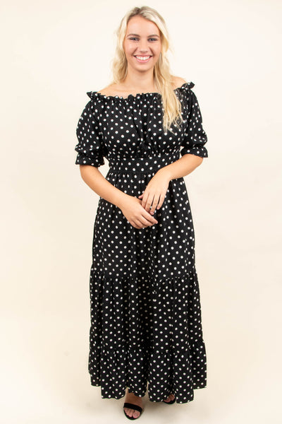 dress, maxi, short sleeve, off the shoulder, bubble sleeves, ruffle hems, fitted waist, flowy, black, polka dots, white