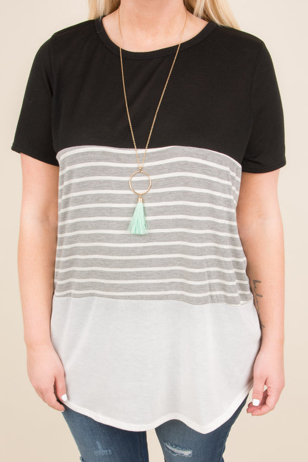 top, tunic, short sleeve, color block, black, gray and white striped, ivory, flowy