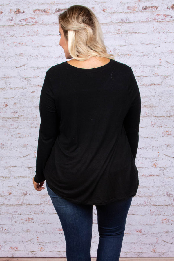 top, long sleeve, black, v neck
