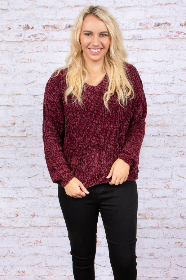 top, sweater, v neck, wine, textured, winter