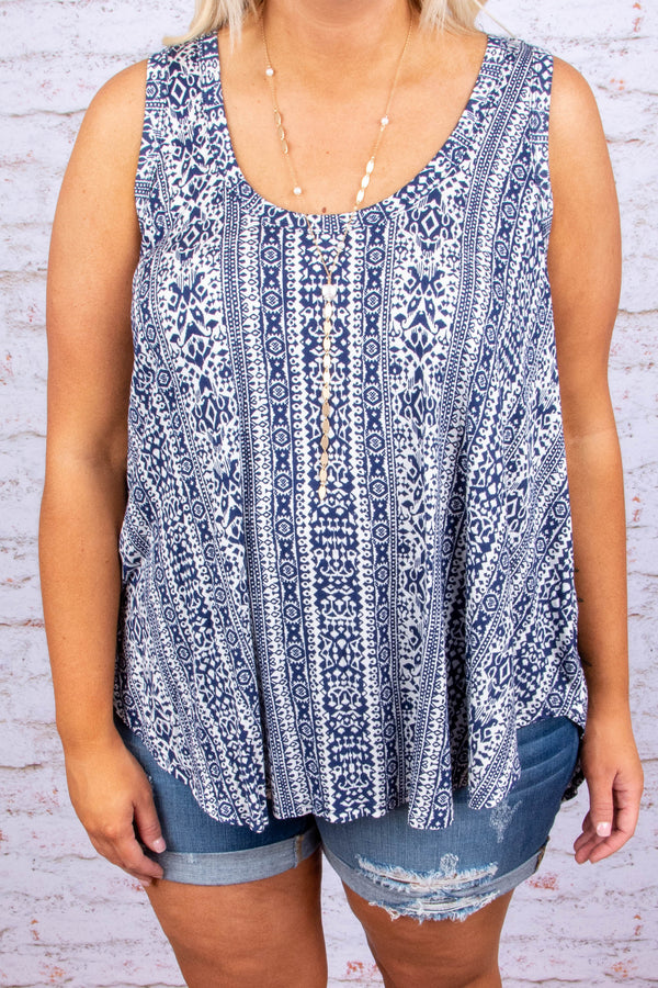Far Off Places Tank, Navy