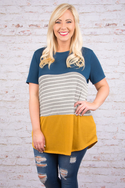 top, tunic, short sleeve, color block, teal, gray and white striped, mustard, flowy