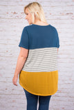 Sweet Intentions Tunic, Teal-Mustard
