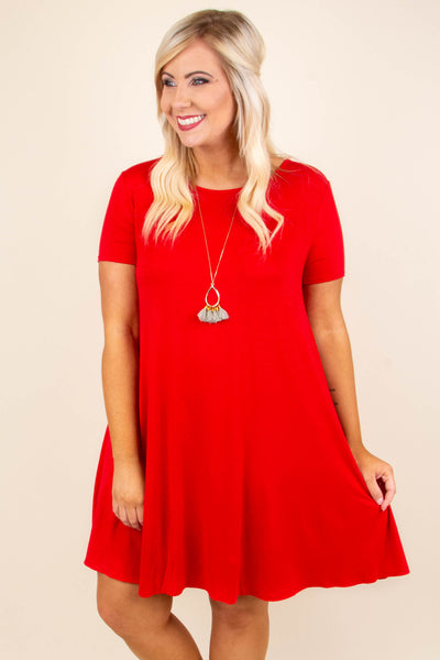Casual Weekend Dress, Red