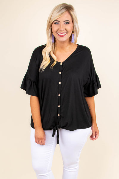shirt, short sleeve, ruffle sleeves, vneck, button down, tie front, black, solid, comfy, longer back